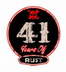 Distressed Aged 41 Years Of Rust Motif For Retro Rat Look VW etc. External Vinyl Car Sticker 100x90mm